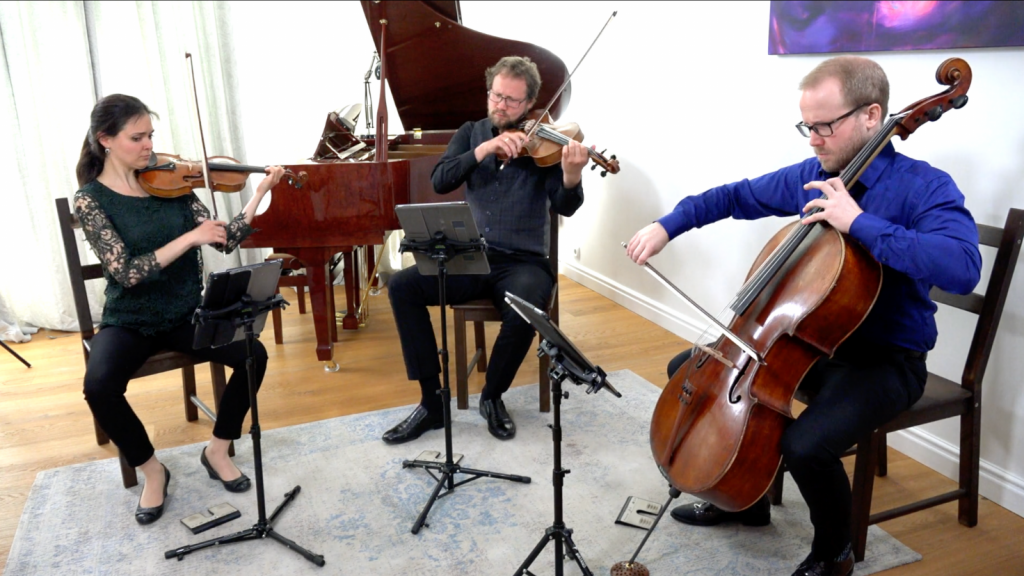 The Ysaye Trio play in their living room in the Hague in The Netherlands